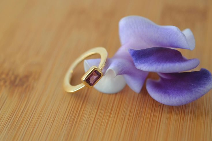 Pink Tourmaline Solid 18k Gold Ring Baguette Gold Ring Christmas Gift Slender Gold Ring Love Rings for Her Ultra Dainty Ring Handmade Greece by ViazisJewelry on Etsy