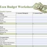 Free Printable Budget Worksheet & Sample Budget for Teens   Back ...