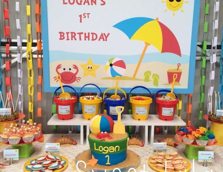 Gorgeous Beach birthday Party set up. Love all the little details - The cookies, the cake, the sand buckets full of goodies. Love it @SweetLyla2014