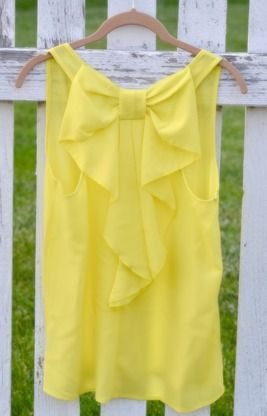 Bow Back Tank | Yellow. I'm usually not much of a yellow person butttt....