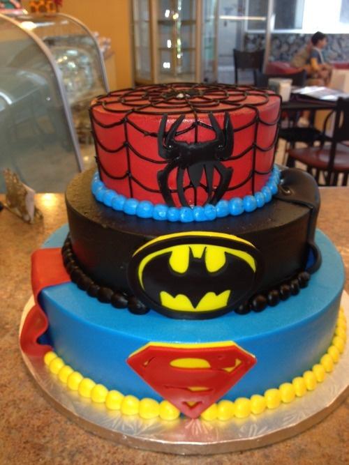 Superhero crossover cake