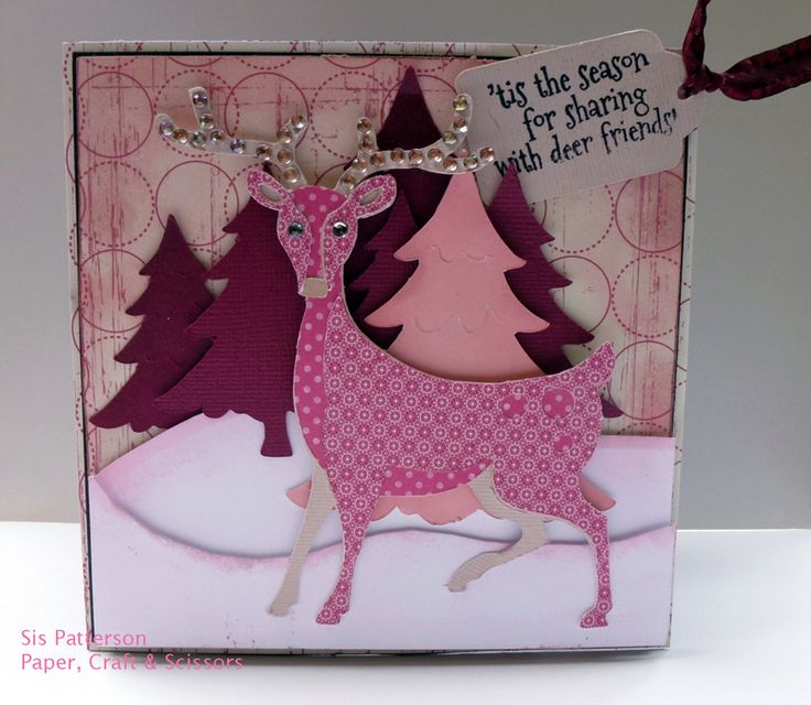 Cricut Christmas Craft Ideas Part - 34: A Cricut Christmas Card In Pink Using Noahu0027s ABC Animal And Paper Doll  Dress-Up
