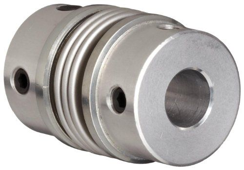 "Huco 530.41.4141.Z Size 41 Flex-B Bellows Coupling, Stainless Steel with Aluminum Hubs, Inch, 0.625"" Bore A, 0.625"" Bore B, 1.61"" OD, 1.96"" Length, 67.349 in-lbs Max Torque  Bellows coupling for use in encoder drives, closed loop servo systems, and other applications requiring high torsional stiffness and torsional integrity  Aluminum alloy hubs with clear anodized finish for corrosion resistance  Spring quality stainless steel bellows for corrosion resistance and high flexibility in a..."