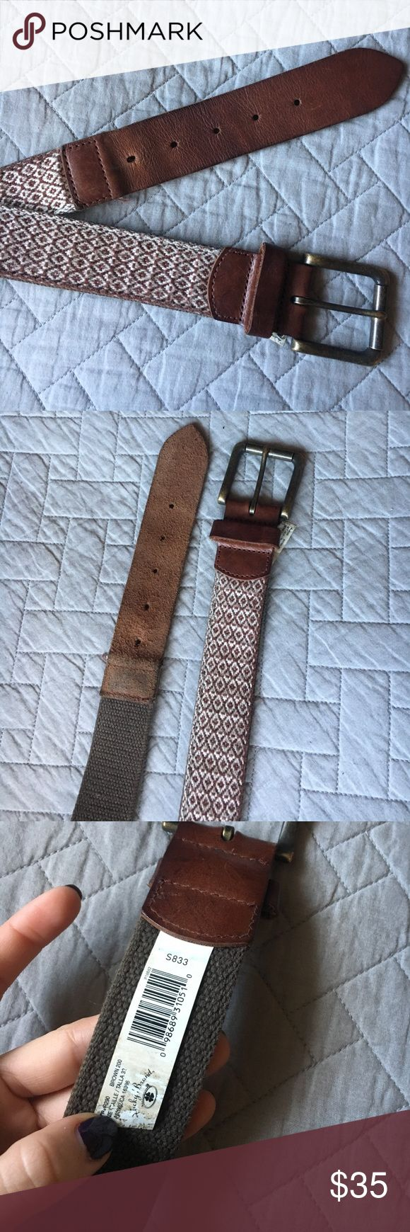 Lucky Brand Belt Brown Lucky Brand belt. 38 inches long. 1.5 inches wide. Designed to be worn at hips. Small. Gently used. No major signs of wear. The fabric and leather is just a little worn in. Lucky Brand Accessories Belts