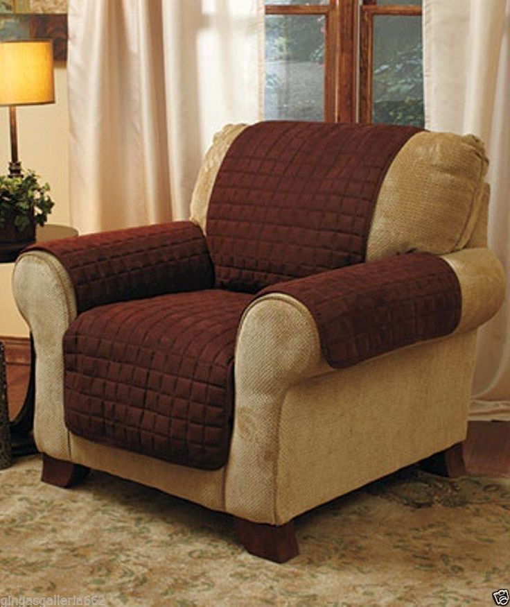 Brown Quilted Suede Chair Recliner Armchair Covers Slipcovers Chair Saver #SofaSuedeCover