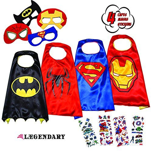 LAEGENDARY Superhero Costumes for Kids - 4 Capes and Mask... https://smile.amazon.com/dp/B01H4BJ2ME/ref=cm_sw_r_pi_dp_x_6kFtyb8P4YRMV
