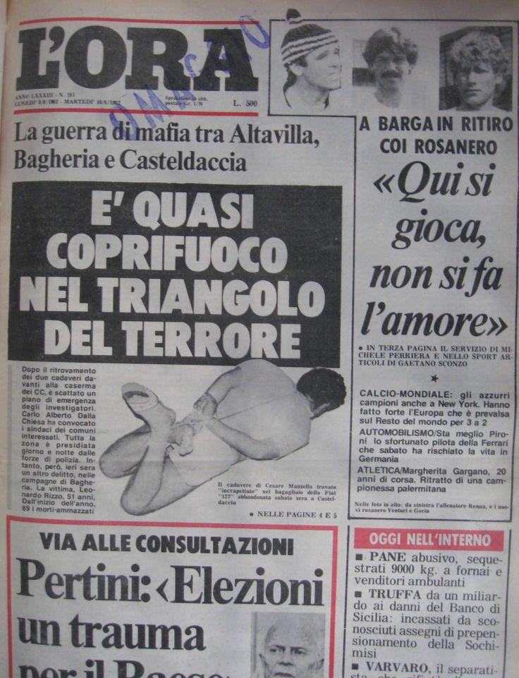 9 agosto 1982, L'Ora, prima pagina