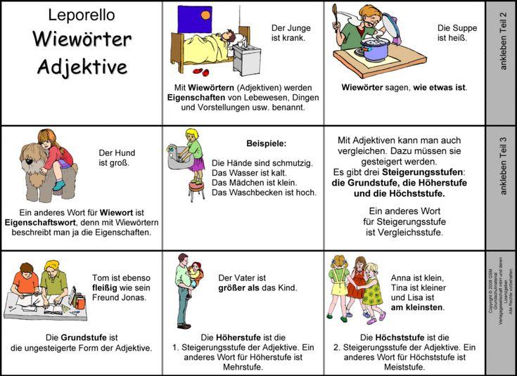 Arbeitsblatt Adjektive Grundschule : Leporello adjektive pinterest