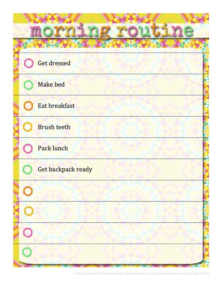 Morning Routine Chart - Free download - editable in Word!