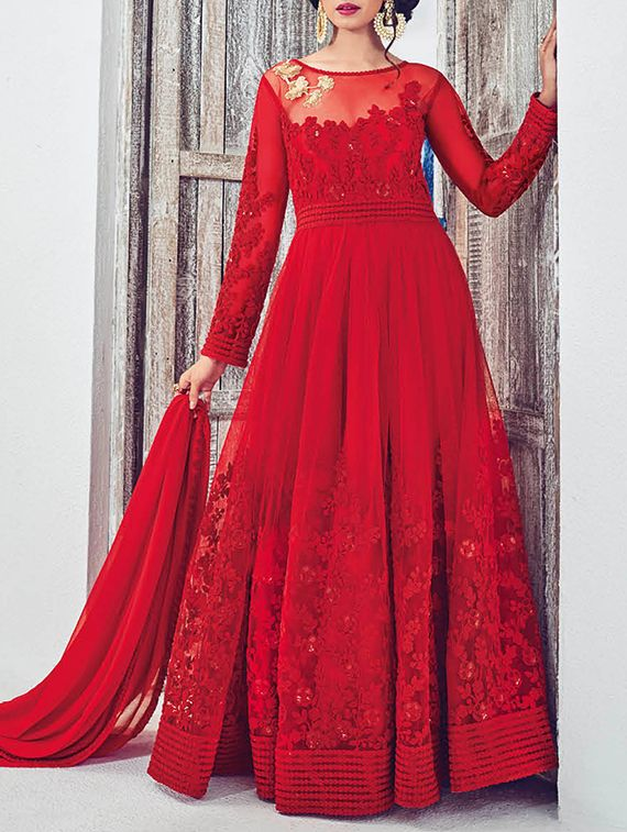 Aadya Couture red cotton anarkali semistitched salwar suit