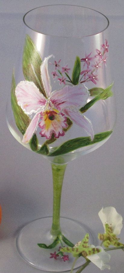 Verre à vin orchidée pourpre