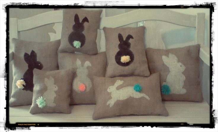 Burlap decorative easter pillows with painted bunnies