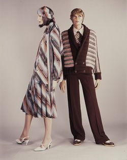 Woman's ensemble in patterned wool knit and rayon, and man's clothes in knitted wool, both by Missoni, Italian, 1974. Shoes by Pasquali.