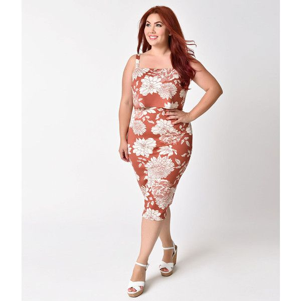 Plus Size 1950s Style Terracotta & Ivory Floral Tiki Stretch Wiggle... ($58) ❤ liked on Polyvore featuring plus size women's fashion, plus size clothing, plus size dresses, plus size knit dresses, plus size retro dresses, retro dresses, white floral dress and plus size white dress
