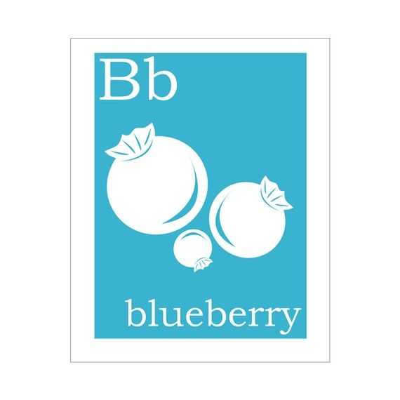B is for Blueberry 5x7 inch print by FinnyAndZook on Etsy, $8.00