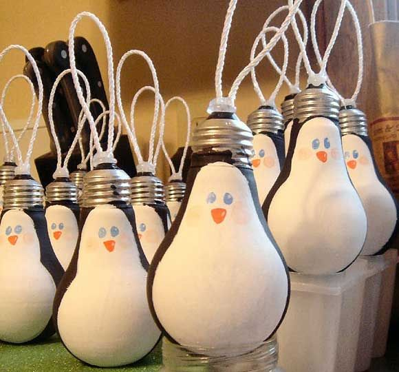 Festive DIY Christmas Ornaments - Penguin Lightbulbs - Click Pic for 25 Holiday Craft Ideas