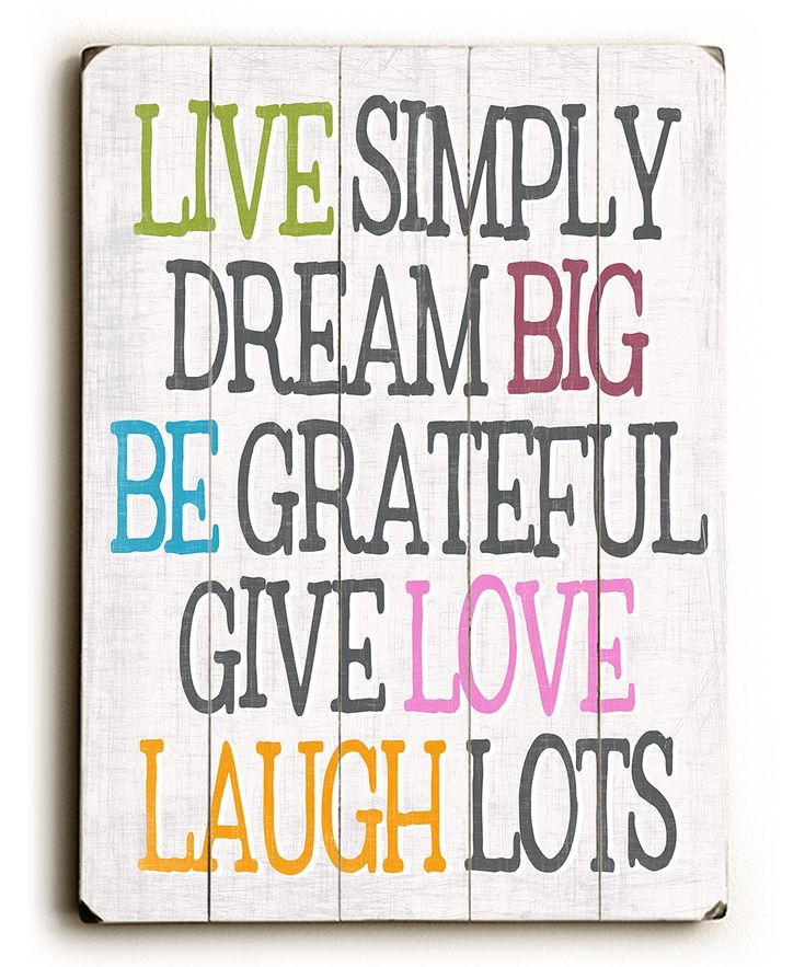 Live Laugh Love Dream Quotes: 'Live Simply Dream Big' Wall Art