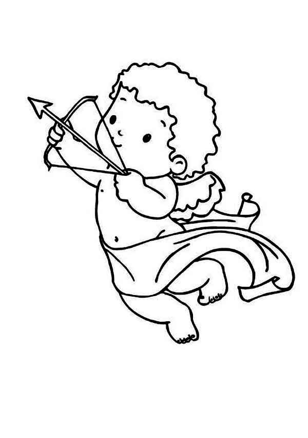 Cupid Cupid Draws His Bow And Arrow Coloring Page Valentines Day Coloring Page Cartoon Coloring Pages Valentine Cartoon