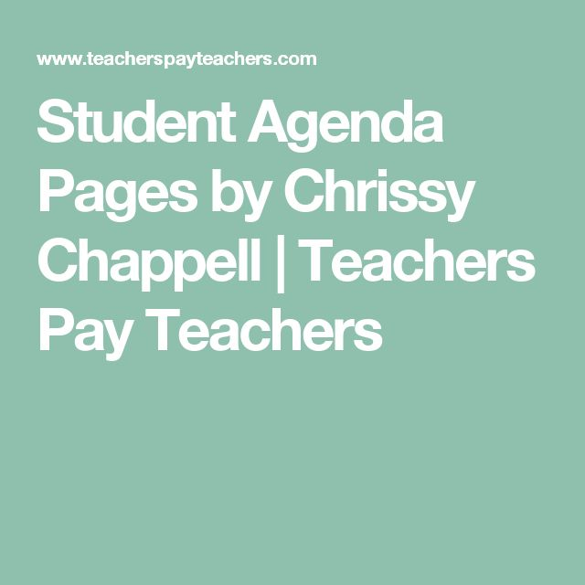 Student Agenda Pages by Chrissy Chappell | Teachers Pay Teachers