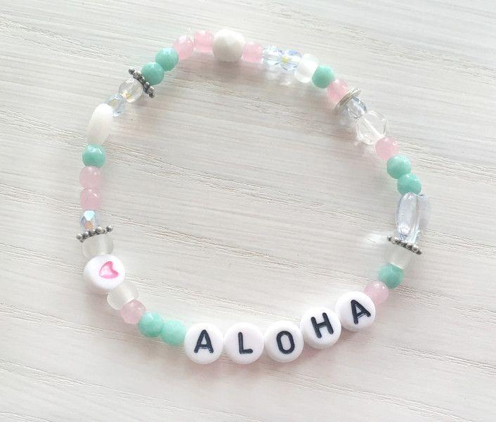 Armbänder - Aloha Armband * Buchstaben Armband Rosa Mint - ein Designerstück von Loovematch bei DaWanda