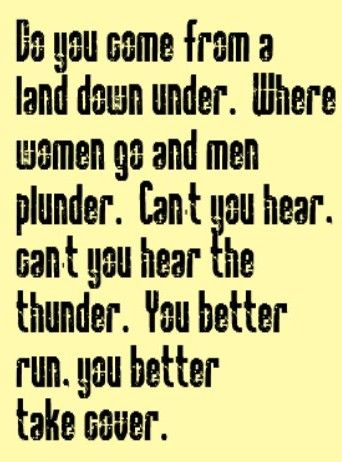 Men at Work - Land Down Under - song lyrics, song quotes, music lyrics, music quotes, songs