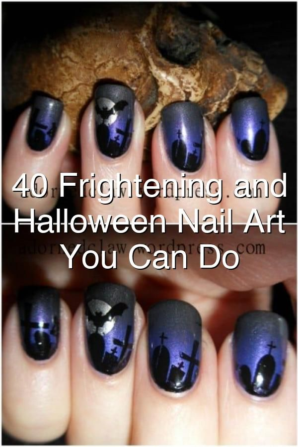 40 Frightening And Fun Halloween Nail Art Designs You Can Do Yourself In 2020 Fun Halloween Nails Halloween Nail Art Halloween Nails
