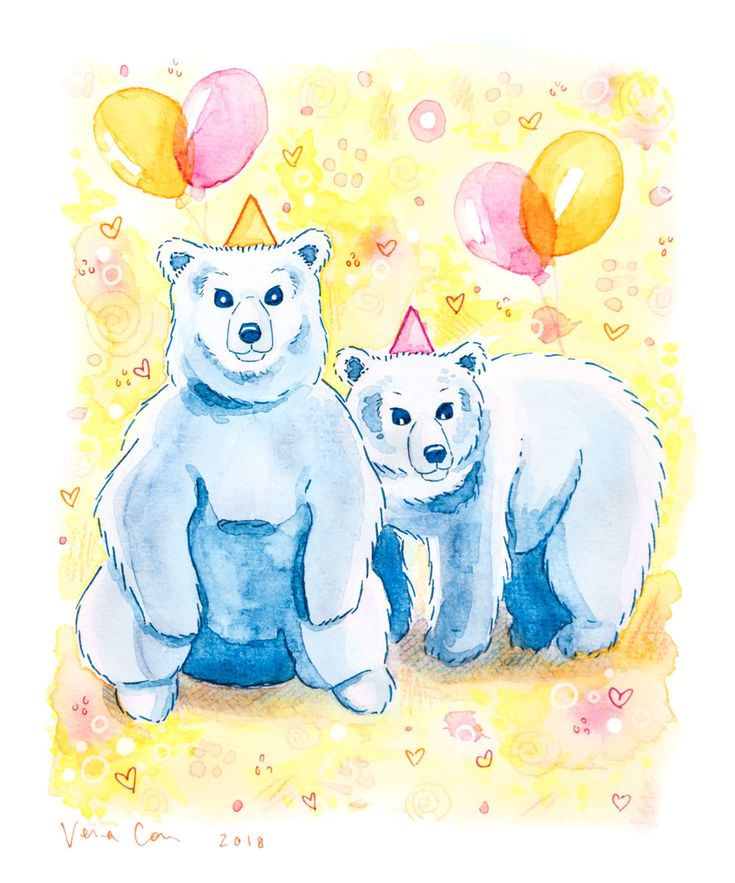 """Birthday Bears"" by Vena Carr, 2018. Watercolour and ink. Available soon on greeting cards!"
