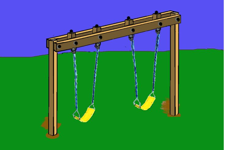 diy swing set frame | hang the swing assemblies on the eye bolts you can
