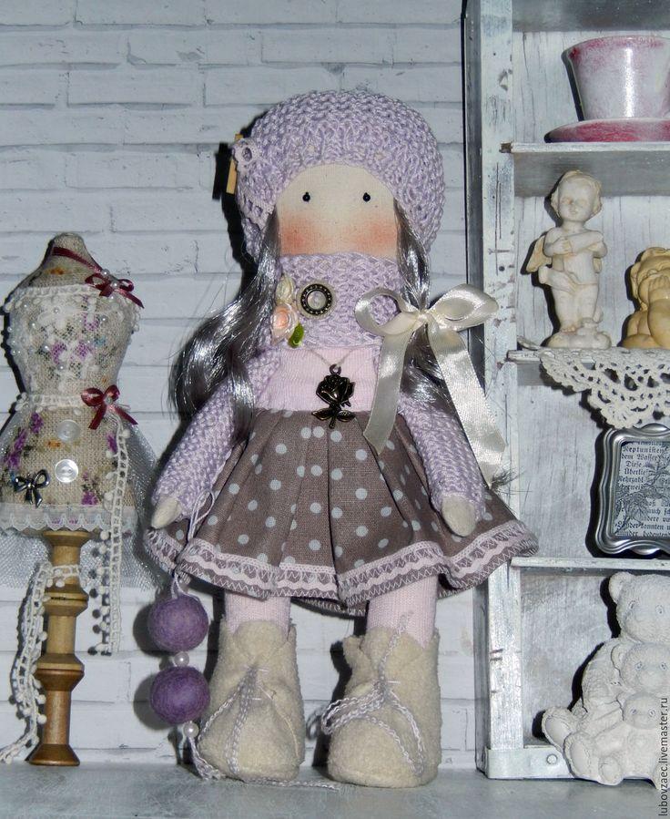 """Купить Кукла текстильная """"черничное мороженое"""" - бледно-сиреневый, кукла ручной работы, кукла интерьерная"""