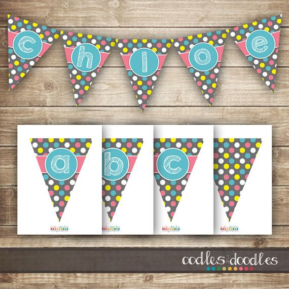 Pink and Turquoise Banner | Girl's Birthday Party | Party Printables by Oodles and Doodles | OandD.etsy.com | Oodles and Doodles.com