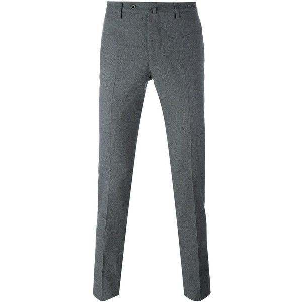 Pt01 Skinny Fit Trousers ($209) ❤ liked on Polyvore featuring men's fashion, men's clothing, men's pants, mens gray dress pants, mens skinny fit dress pants, mens skinny pants, mens super skinny dress pants and mens grey dress pants