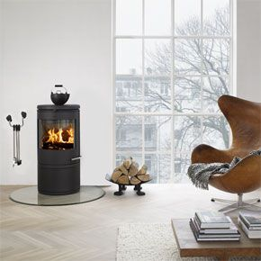 Morso 7642 Convector Log Drawer - Morsø 7642 The wood burning stove with large round door glass - designed by Monica Ritterband.