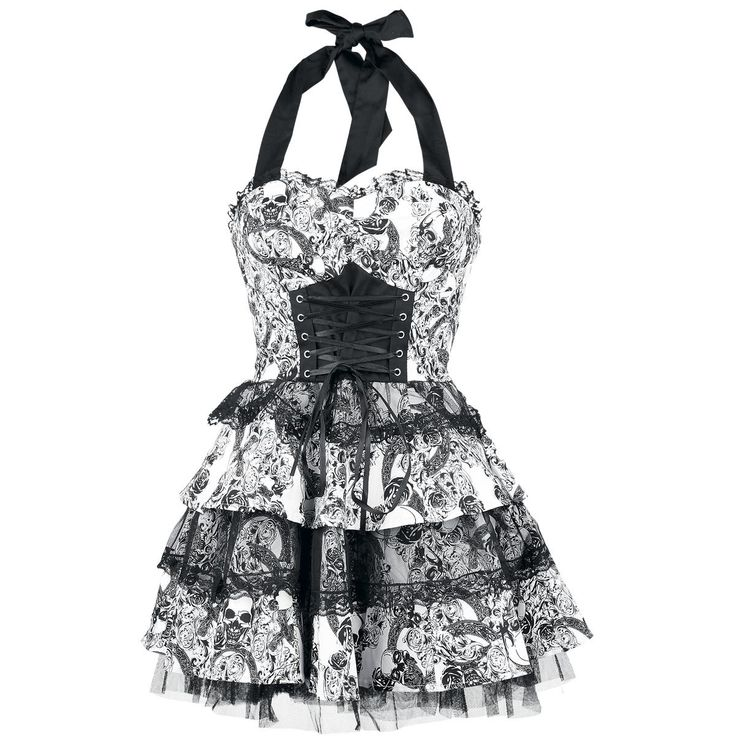 H London - Skully Dress  Dress with lace decoration, lacing on the front, zipper on the side and elastic band on the back. Length approx. 55 cm.