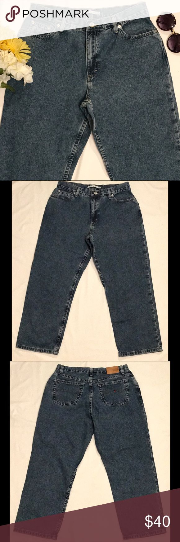 """Tommy Hilfiger vintage high waist mom jeans Tommy Hilfiger vintage high waist mom jeans. Chic, on trend style. Ankle straight leg jeans. Medium wash. Great condition. 100% cotton. Size 10. 11"""" rise, 15"""" waist, 26"""" inseam. Tommy Hilfiger Jeans Straight Leg"""