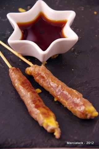 Yakitori : brochettes de boeuf au fromage fondant
