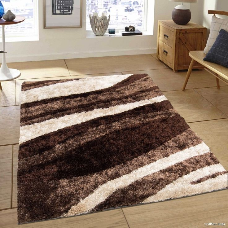 Chocolate/ Beige Modern Thick Fluffy High Pile Rug