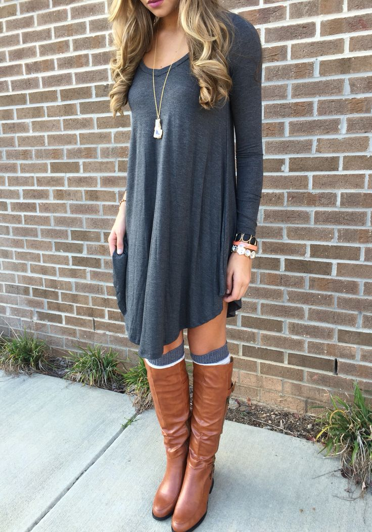 Love the dress and boots but would wear black boots instead of brown.