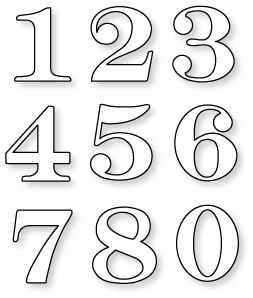 "Papertrey Ink - By the Numbers Die Collection (set of 9): large numbers 1 1/2"" - 1 3/4"""