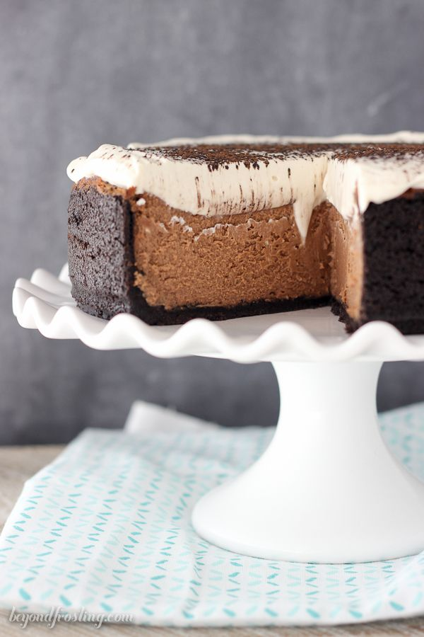 Loaded Chocolate Bailey's Cheesecake. This recipe is a keeper! It's spiked with Bailey's Irish cream in the cheesecake. It's even topped with a Bailey's Whipped Cream.