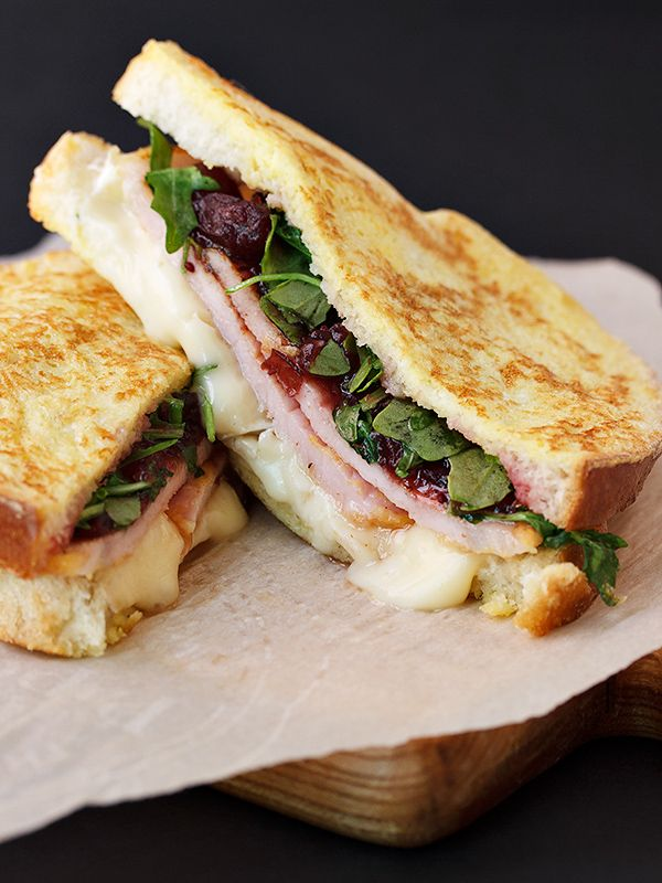 A delicious Monte Cristo sandwich recipe, featuring peameal bacon, arugula, cranberry sauce and Brie cheese. Muskoka style!