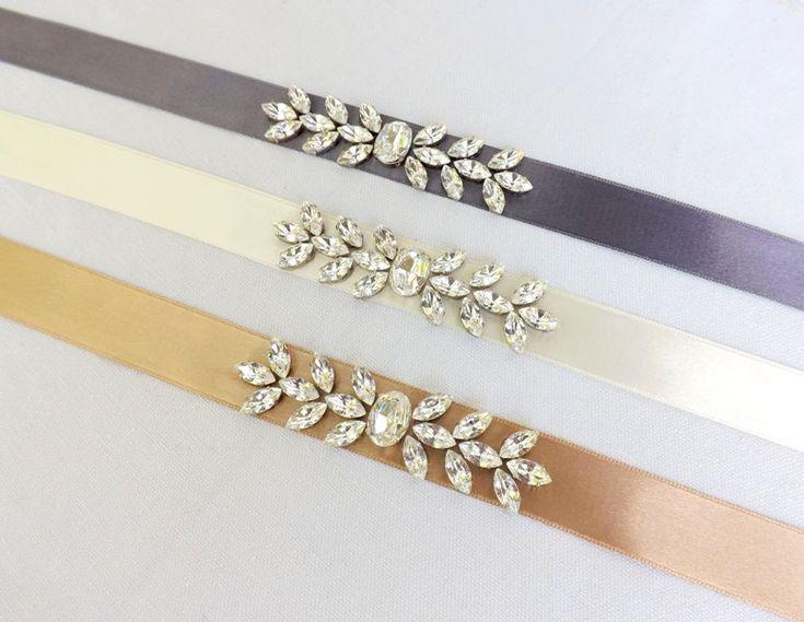Ivory Bridal Sash decorated with Swarovski crystals leaves. Sparkley sash. Silver and crystals sash belt. by MissLaceWedding on Etsy