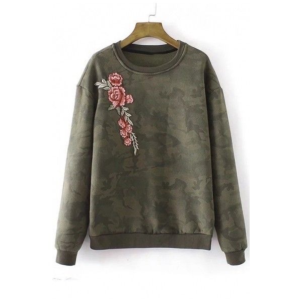 Women's Floral Embroidery Camouflage Print Round Neck Long Sleeve... (280 CNY) ❤ liked on Polyvore featuring tops, hoodies, sweatshirts, round neck top, round top, camo sweatshirts, long sweatshirt and floral sweatshirt