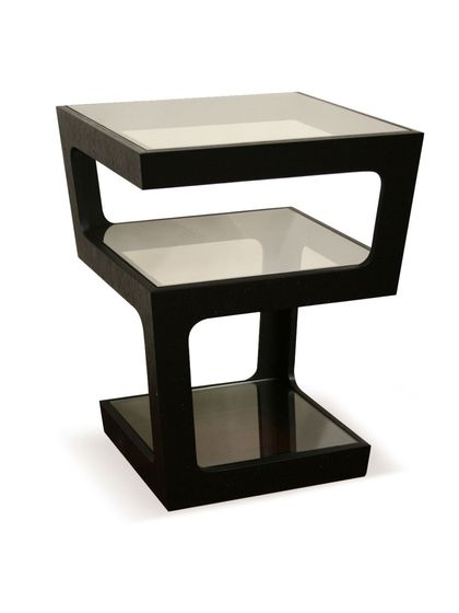 baxton studio clara black modern tall 3 tiered end table