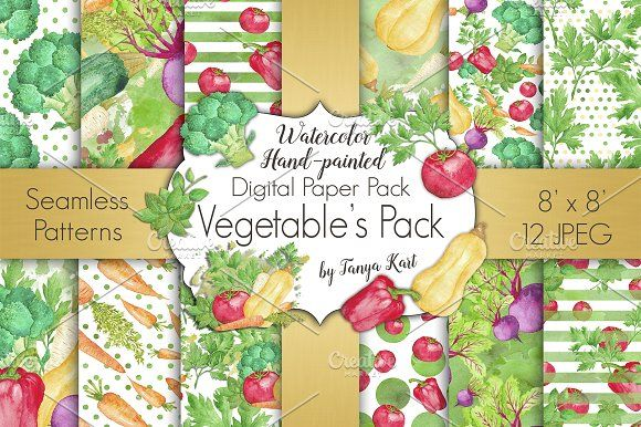 Vegetable Watercolor Digital Paper  by Tanya Kart on @creativemarket