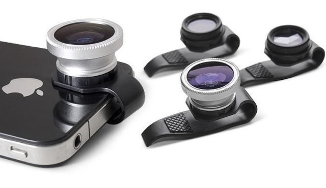 Clip-on iPhone lenses from Gizmon. Fisheye, Circular Polarizer and 3-Image Mirage.