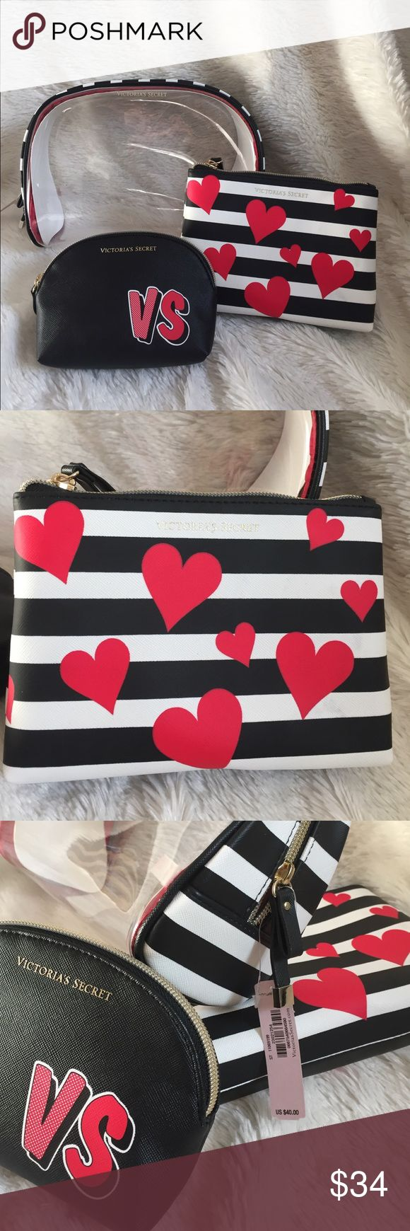 "❤ NWT • VICTORIA'S SECRET COSMETIC BAGS ❤ NWT • SET OF 3 VICTORIA'S SECRET COSMETIC BAGS • LARGE BAG MEASURES 9.5"" x 6.75"" - HAS BLACK & WHITE STRIPES • BLACK & WHITE STRIPES WITH HEARTS MEASURES 7"" x 5.25"" - RED INTERIOR • SMALLEST MEASURES 6"" x 4.5"" - BLACK WITH VS IN RED & RED & WHITE DOTS - RED INTERIOR Victoria's Secret Bags Cosmetic Bags & Cases"