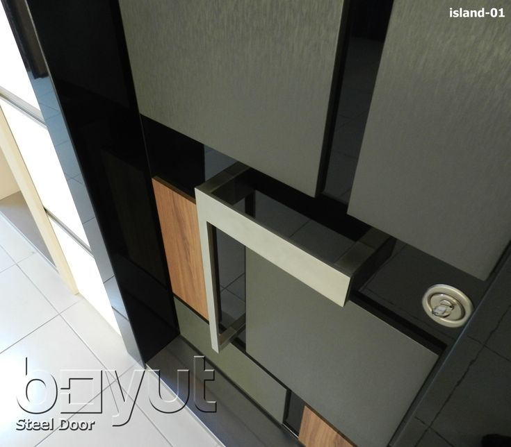"""*Model """"Island-01"""" *Steel Security Door, *Entrance Door *A Perfect combination of steel, stainless steel, pvc covering, luxury aluminium frame, double layered leaf structure, password-protected alarm system, fully-steel inner structure and more..."""