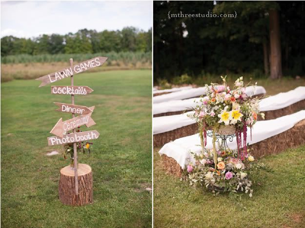 Door County Wedding | Farm Wedding | Woodwalk Gallery Wedding hand-painted wooden sign, hay bale seating, organic florals  Florals by Flora photo by m three studio photography