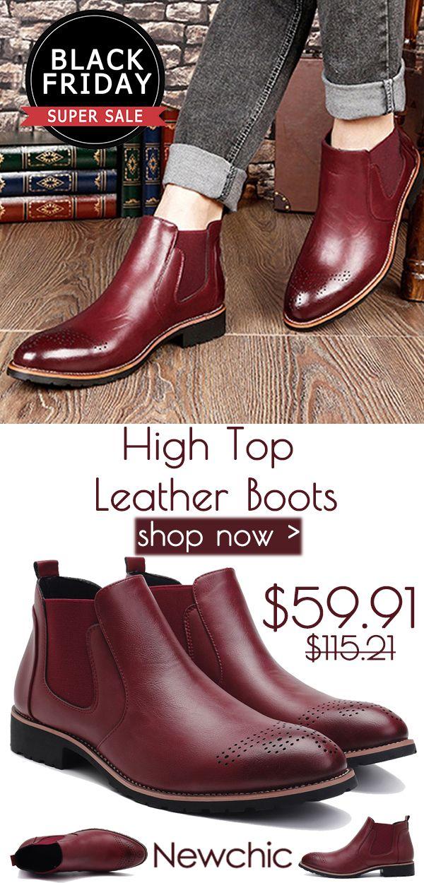 Men Carved Leather Slip Resistant High