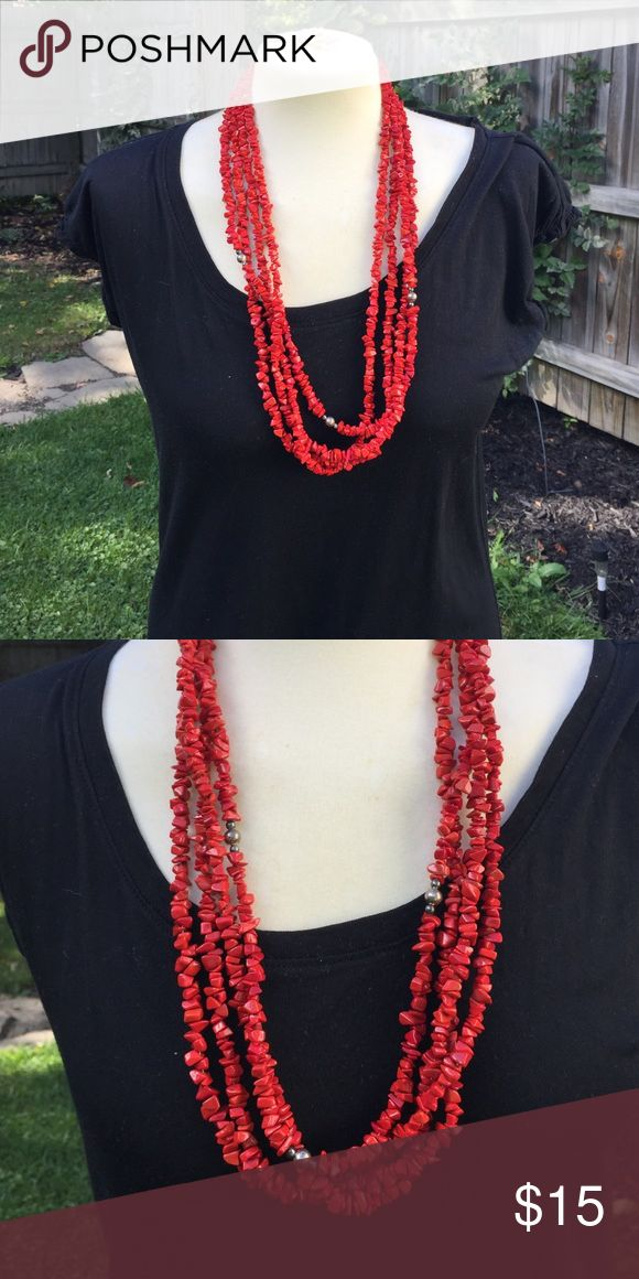 Women's Red Necklace Red and silver colored bead necklace.  4 Strands of magnesite beads with a hook closure.  Never used.  A few years old.  Forgot about it.  Never used.  Natural Magnesite beads. Jewelry Necklaces